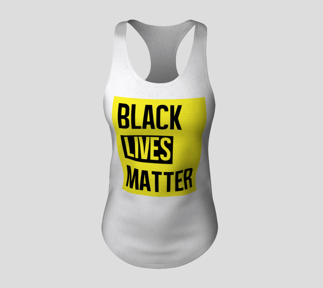 Black Lives Matter Bold Quote Yellow Background Racerback Tank Top, AWSDG preview #3
