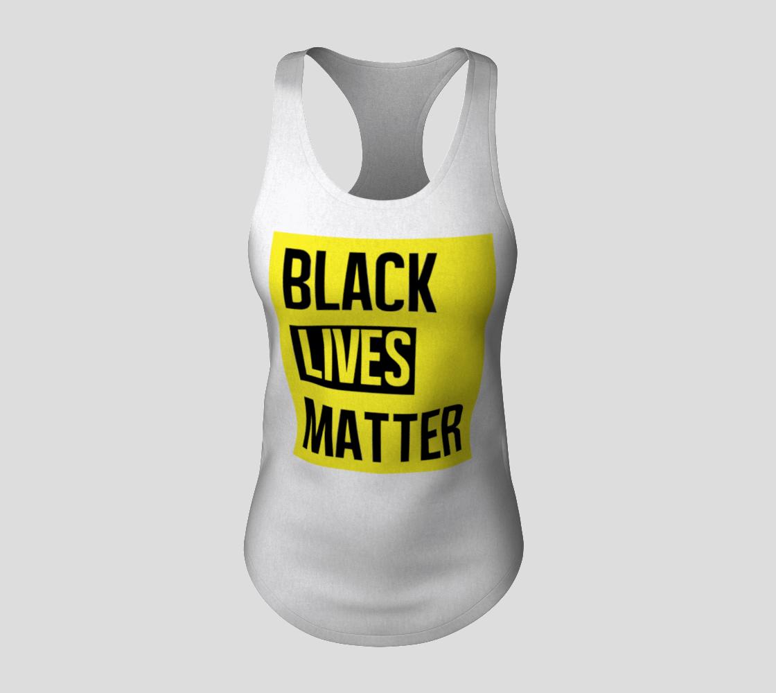 Aperçu de Black Lives Matter Bold Quote Yellow Background Racerback Tank Top, AWSDG #3