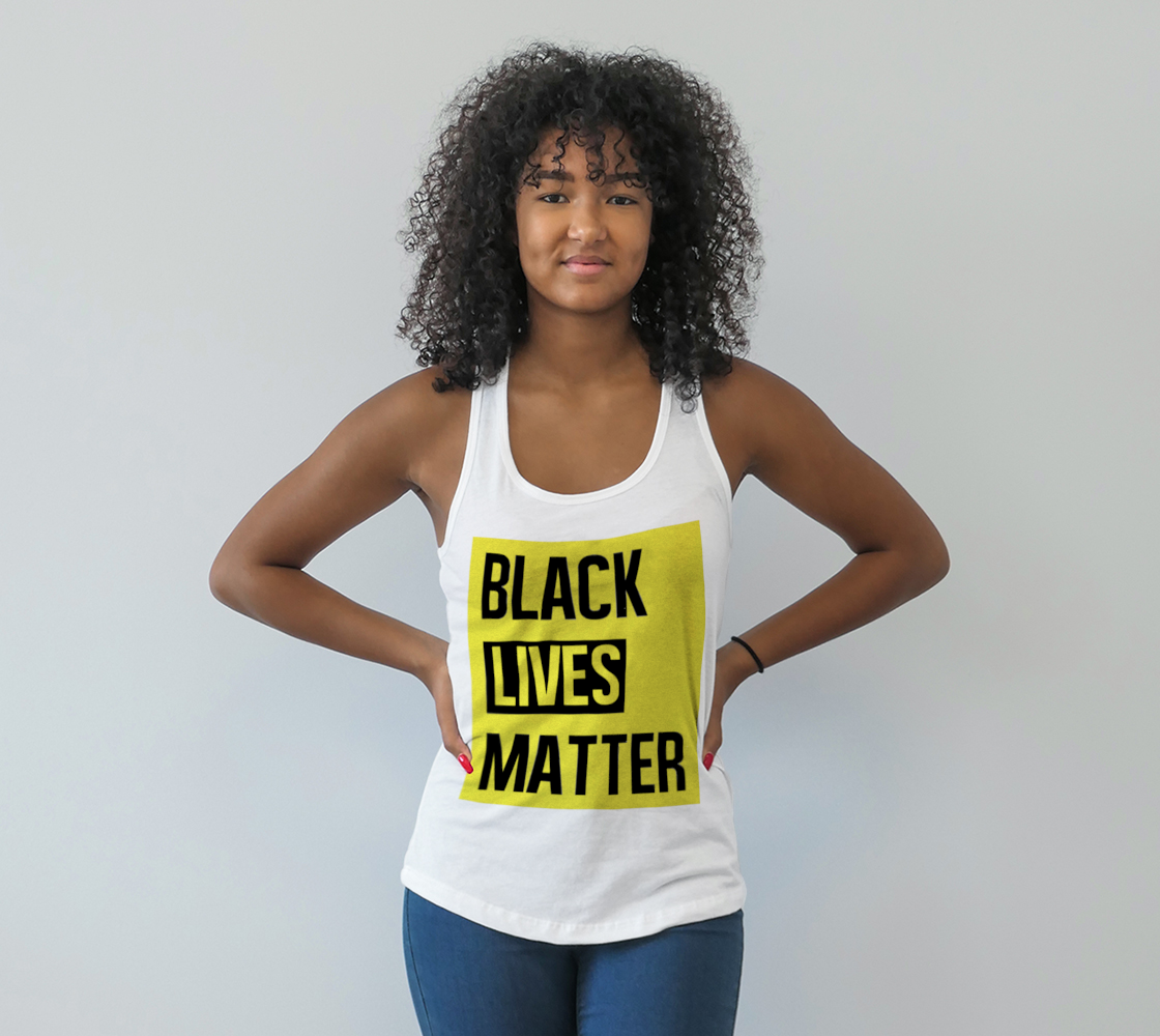 Aperçu de Black Lives Matter Bold Quote Yellow Background Racerback Tank Top, AWSDG