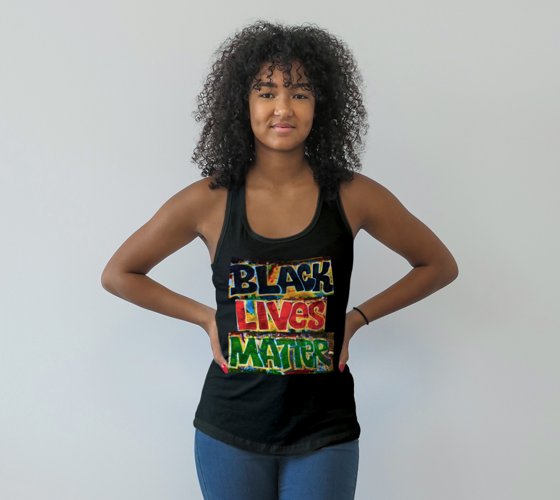 Aperçu de Black Lives Matter Graffiti Wall Racerback Tank Top, AWSDG
