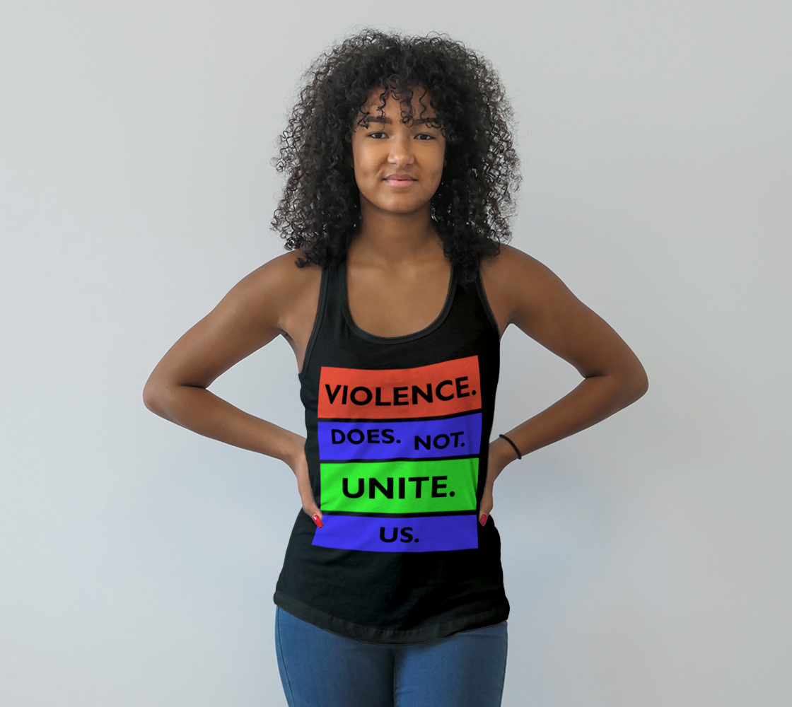 Aperçu de Violence Does Not Unite Us Period Racerback Tank Top, AWSDG