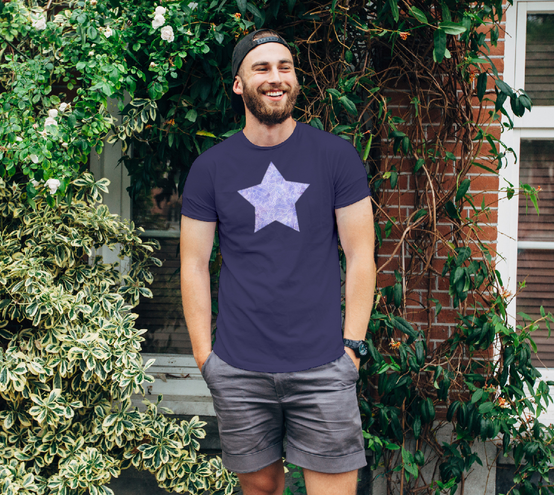 Lavender and white swirls doodles star Unisex Tee preview