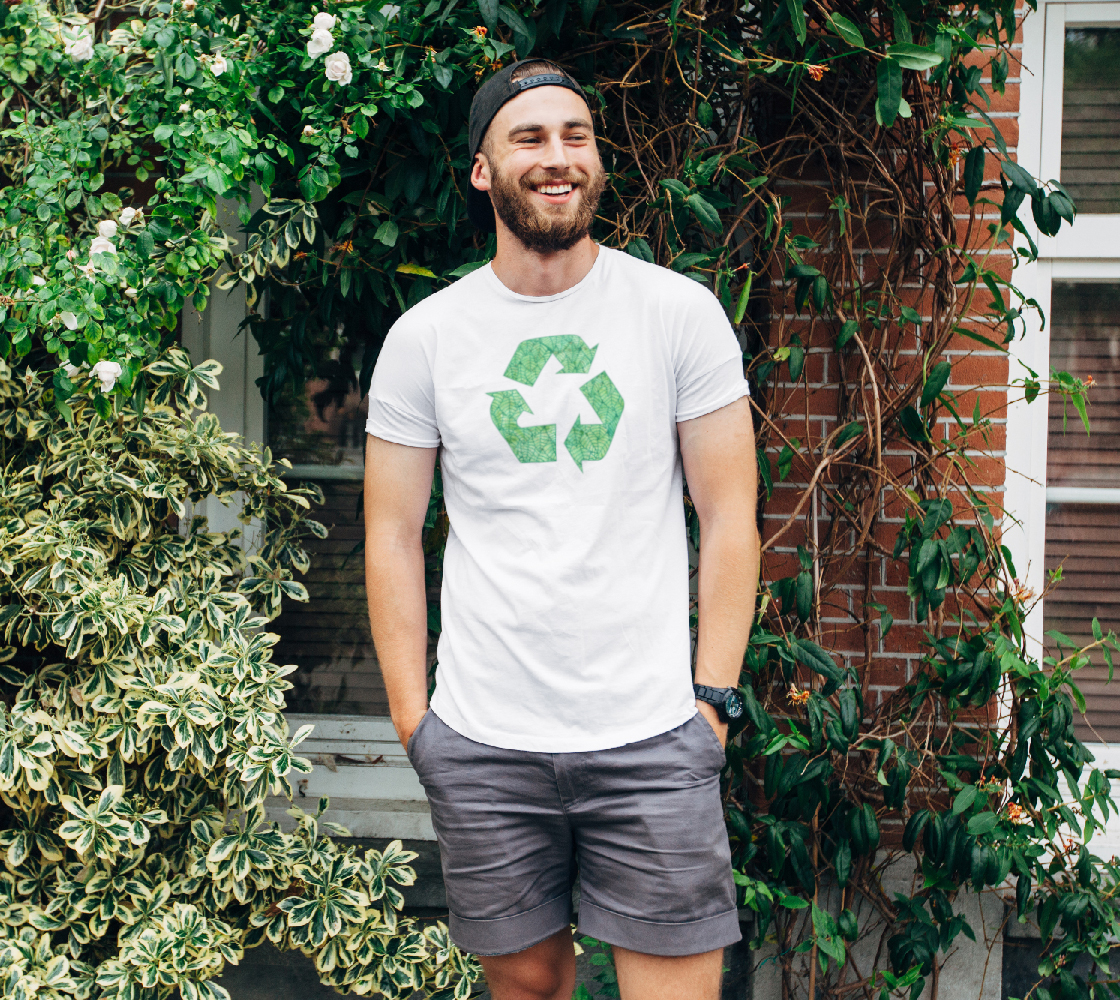 Green foliage watercolor recycling Unisex Tee preview