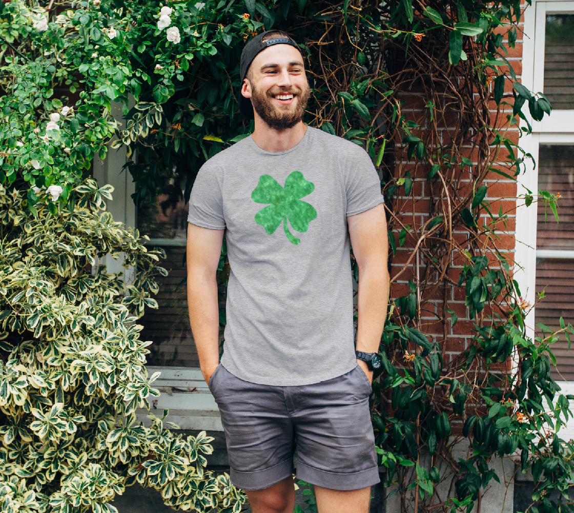 Bright green swirls doodles Clover Unisex Tee preview