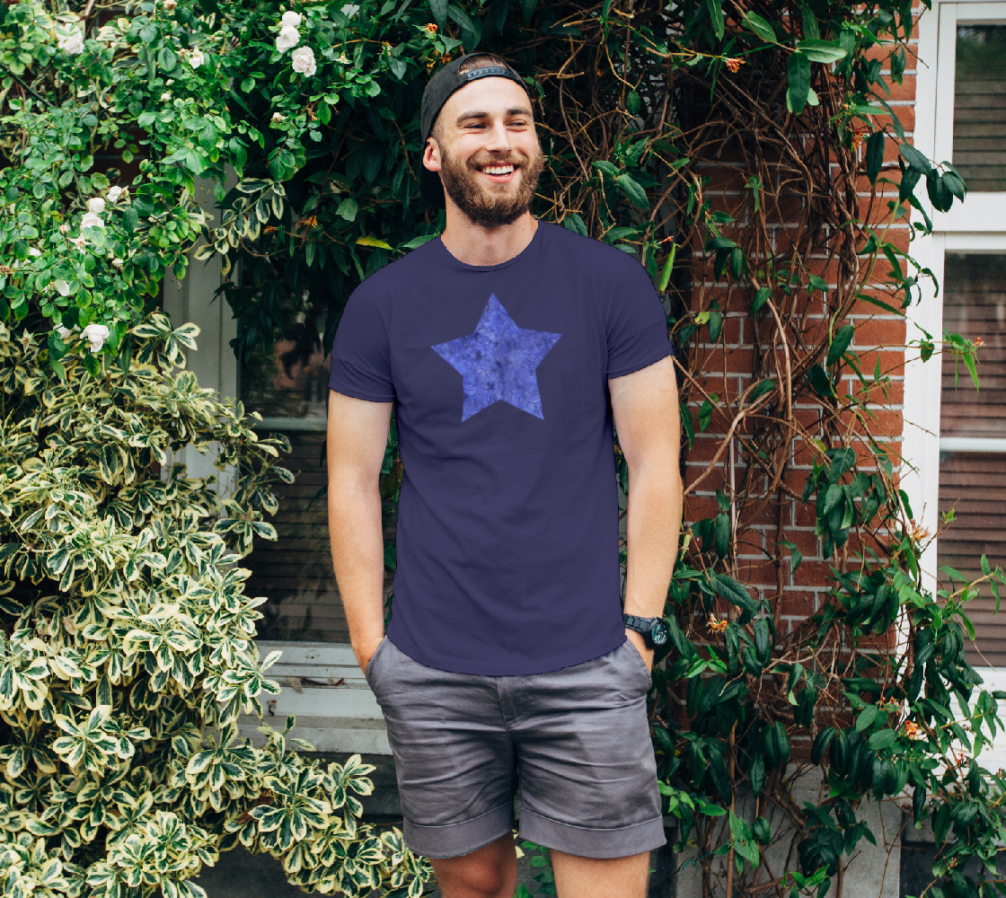 Royal blue swirls doodles star Unisex Tee preview