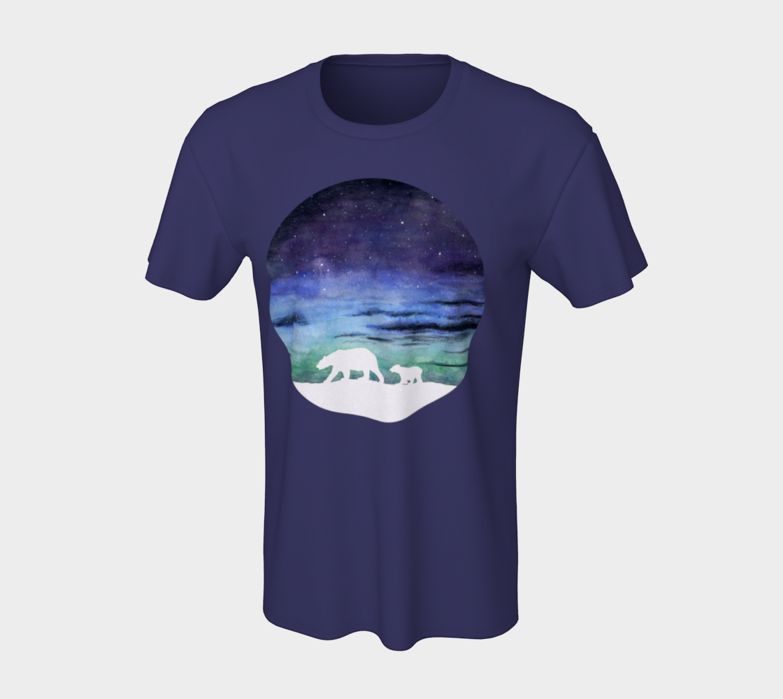 Aurora borealis and polar bears (white version) Unisex Tee preview #7