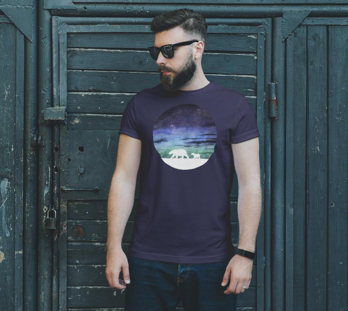 Aurora borealis and polar bears (white version) Unisex Tee preview #2