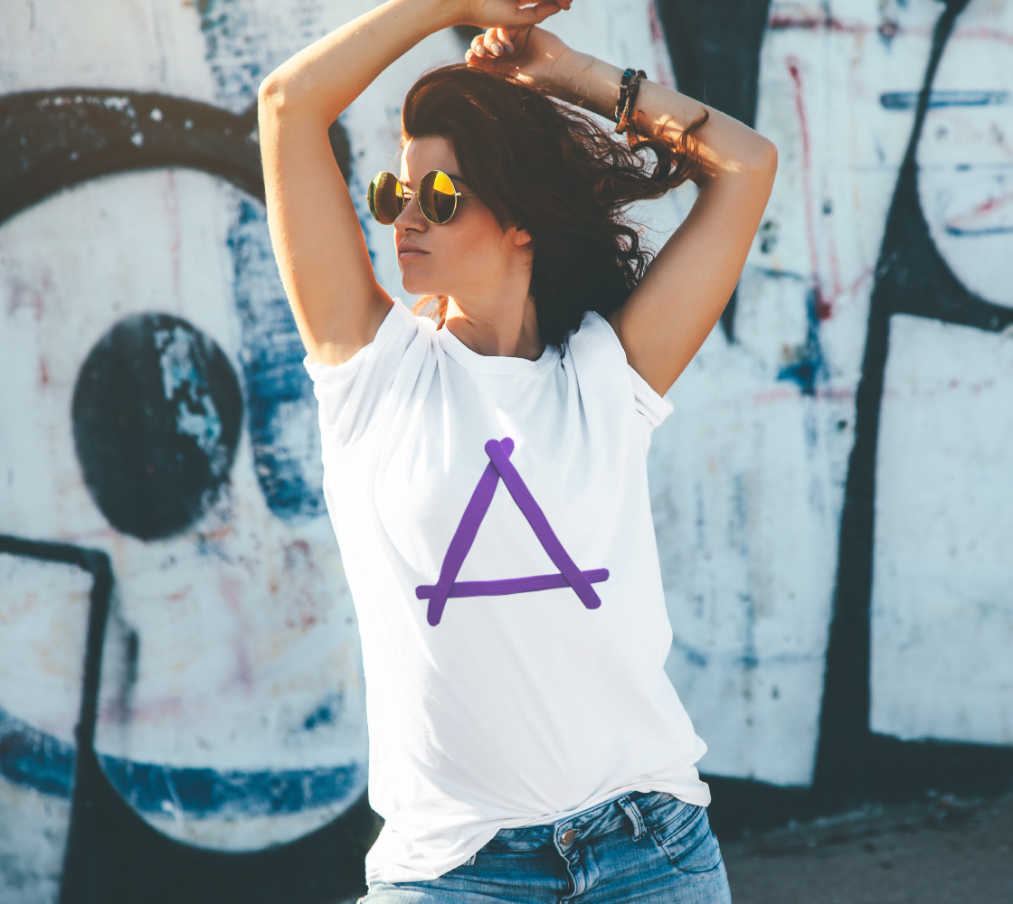 Popstick Triangle in Purple Unisex Tee preview #4