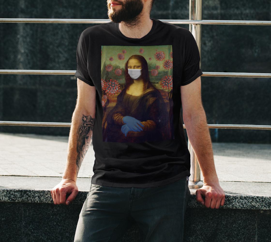 Mona Lisa Coronavirus Virus Protection Measure Unisex T-Shirt, AOWSGD preview #3