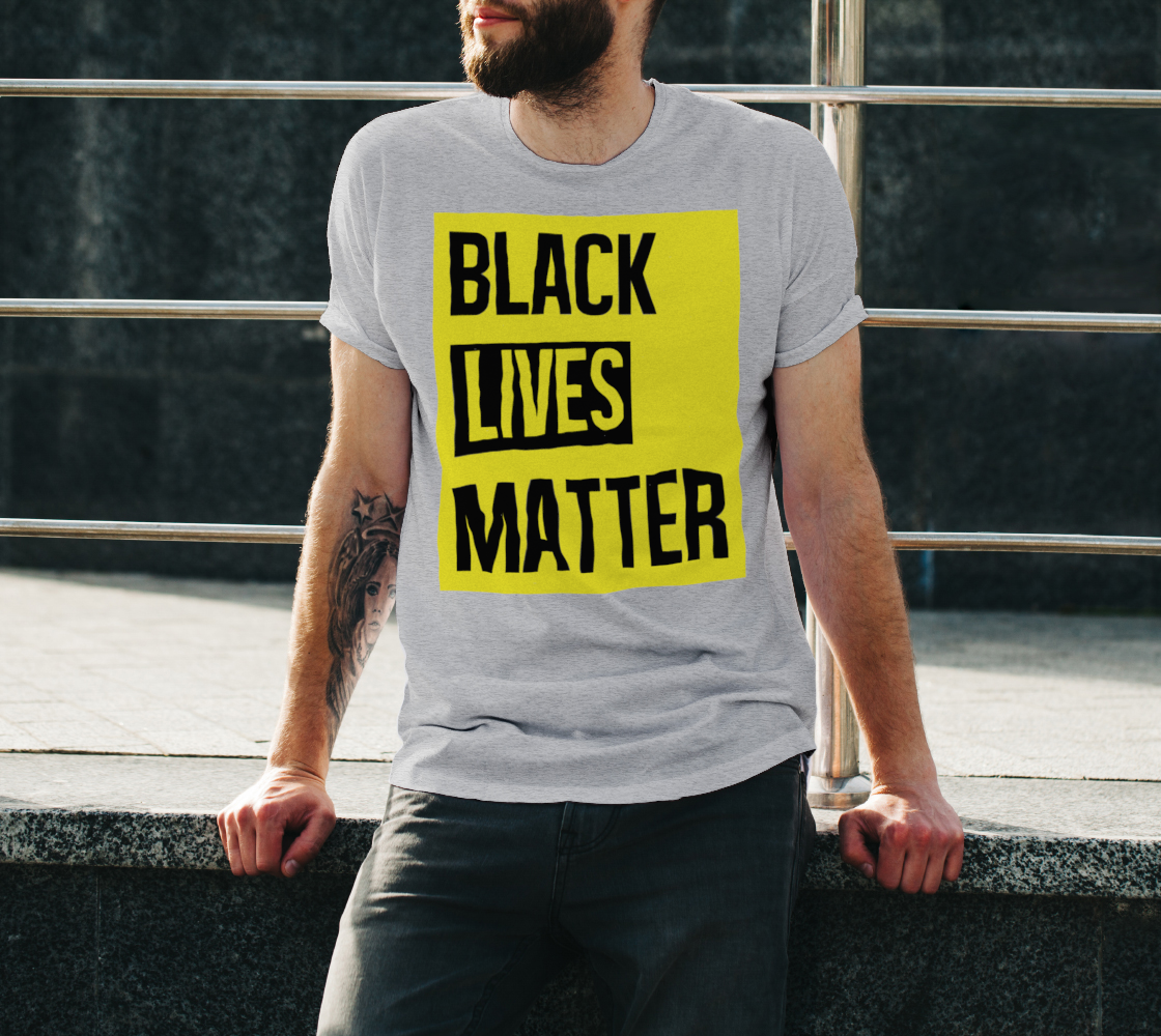 Black Lives Matter Bold Quote Yellow Background Men's T-Shirt, AWSDG preview #3