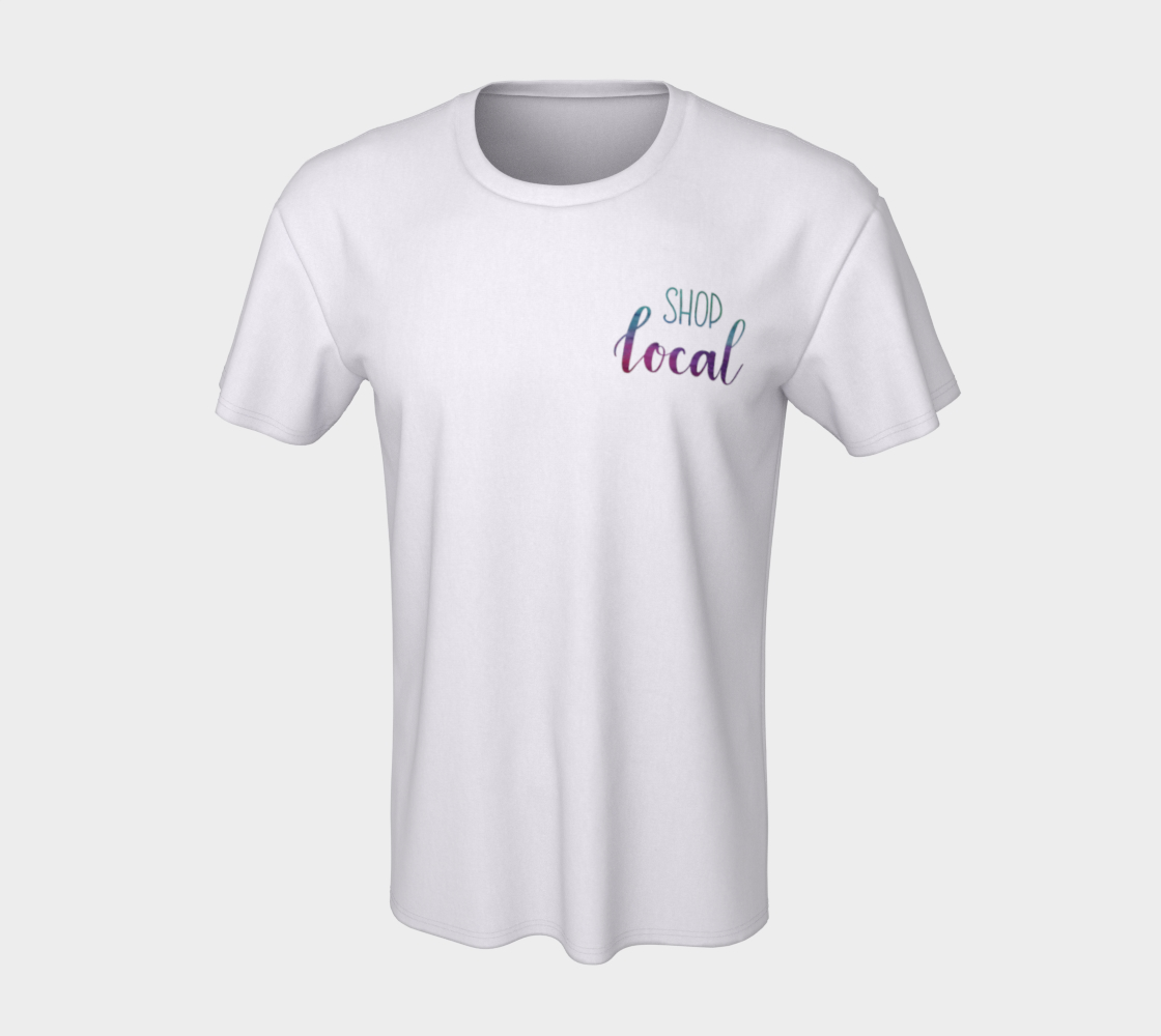 Shop Local - white unisex tee with multicolour lettering preview #7