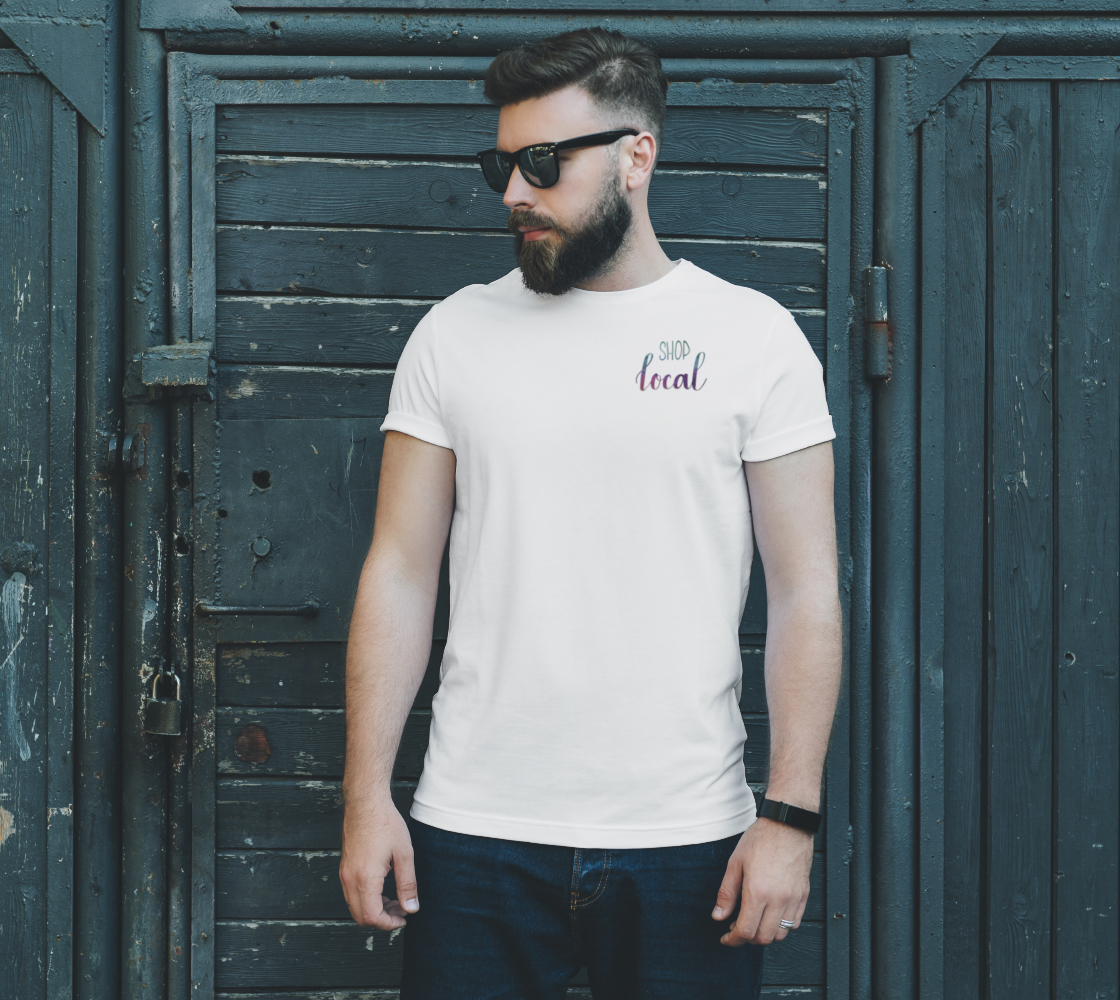 Shop Local - white unisex tee with multicolour lettering preview #2