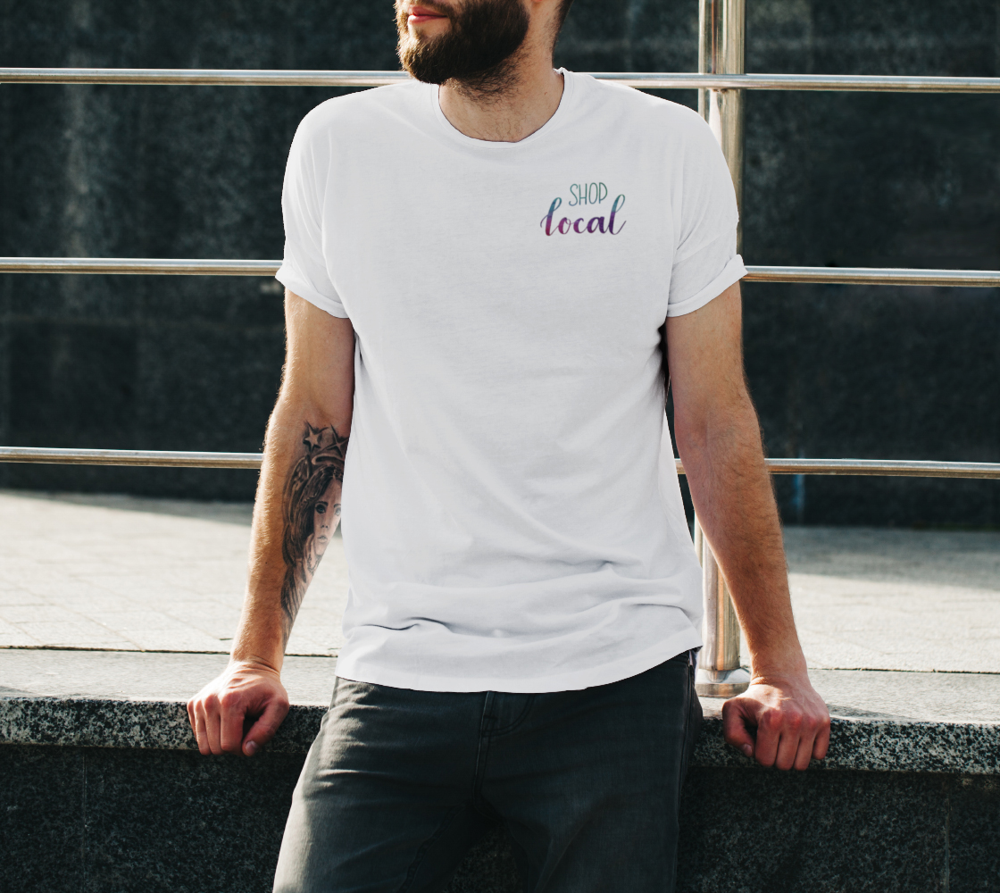 Shop Local - white unisex tee with multicolour lettering preview #3