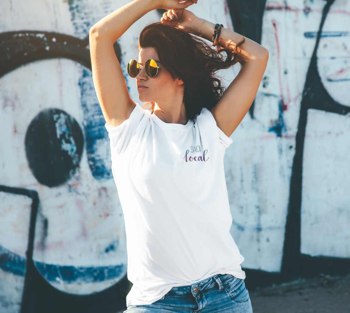 Shop Local - white unisex tee with multicolour lettering preview #4