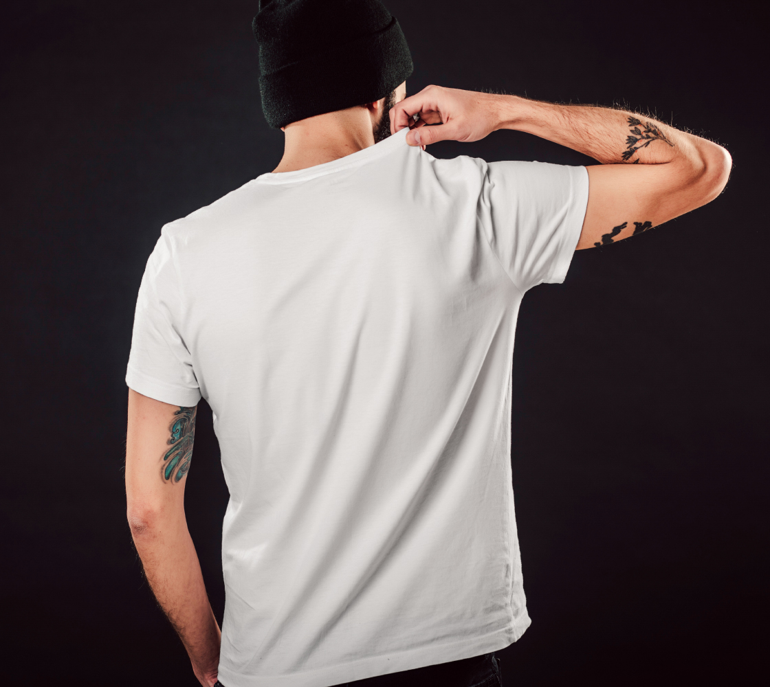 Shop Local - white unisex tee with multicolour lettering preview #5