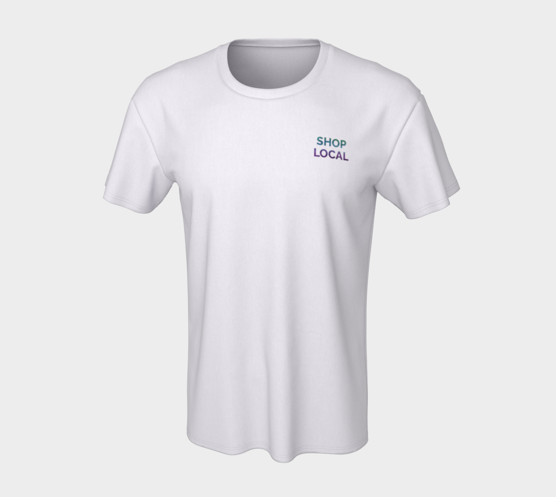 Shop Local - white unisex tee with multicolour text preview #7