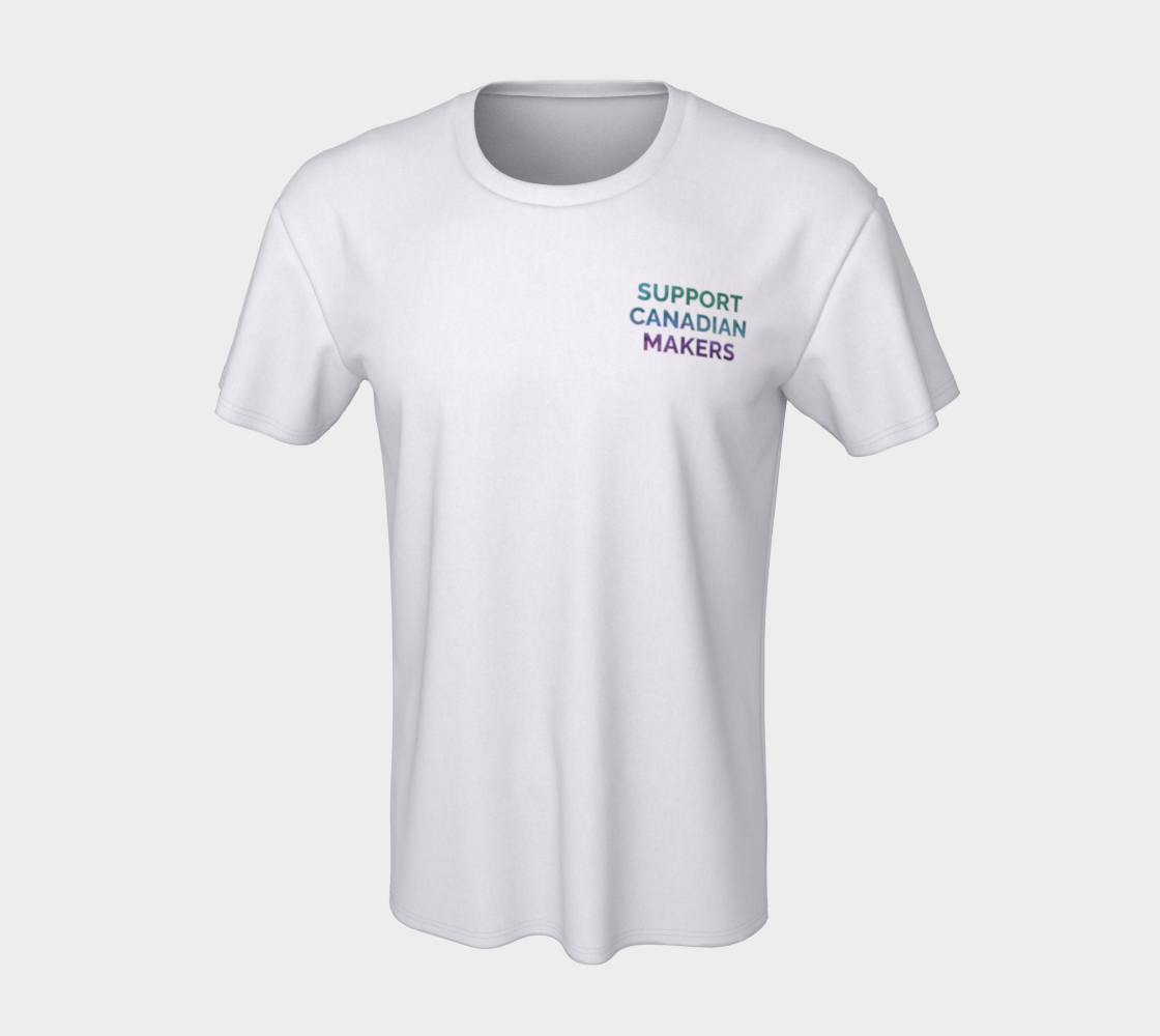 Support Canadian Makers - white unisex tee with multicolour text preview #7