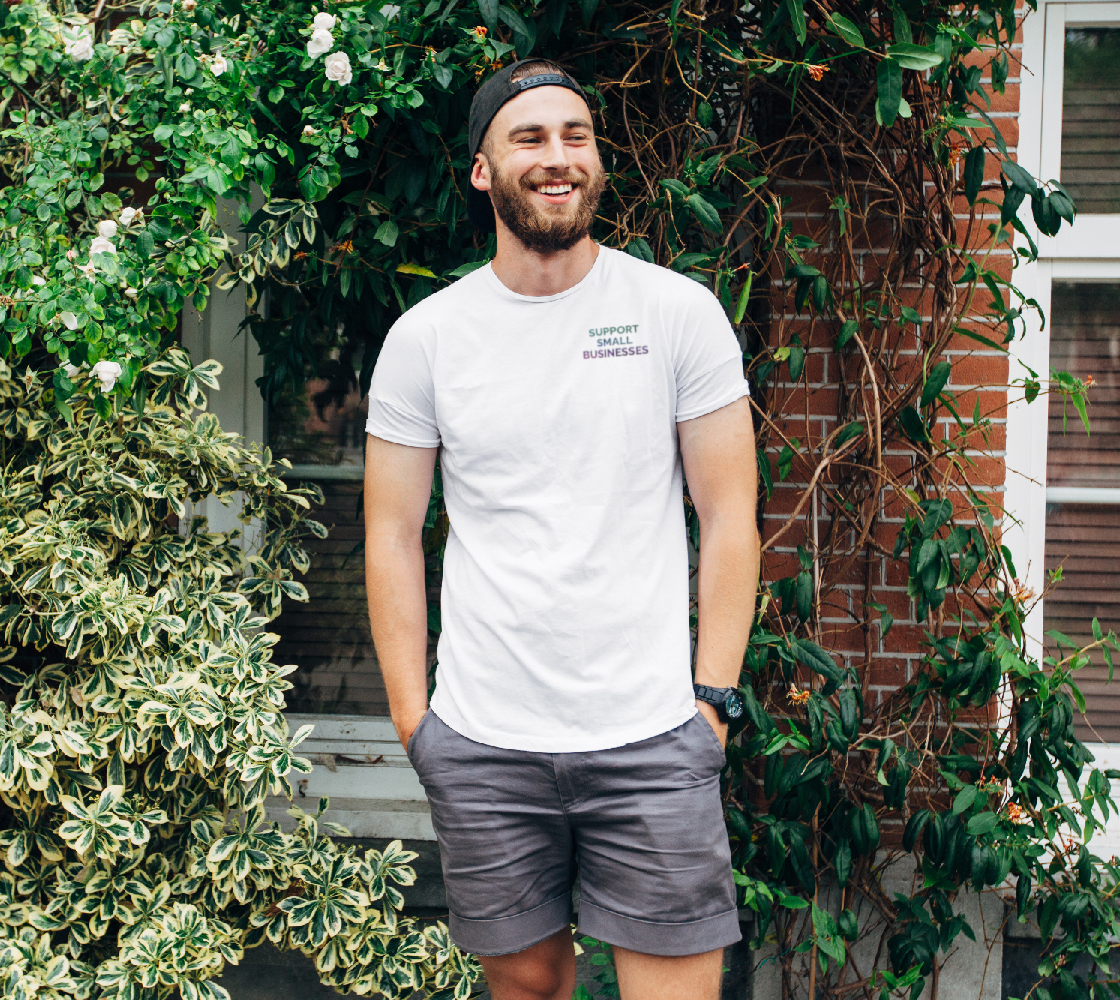 Support Small Businesses - white unisex tee with multicolour text preview