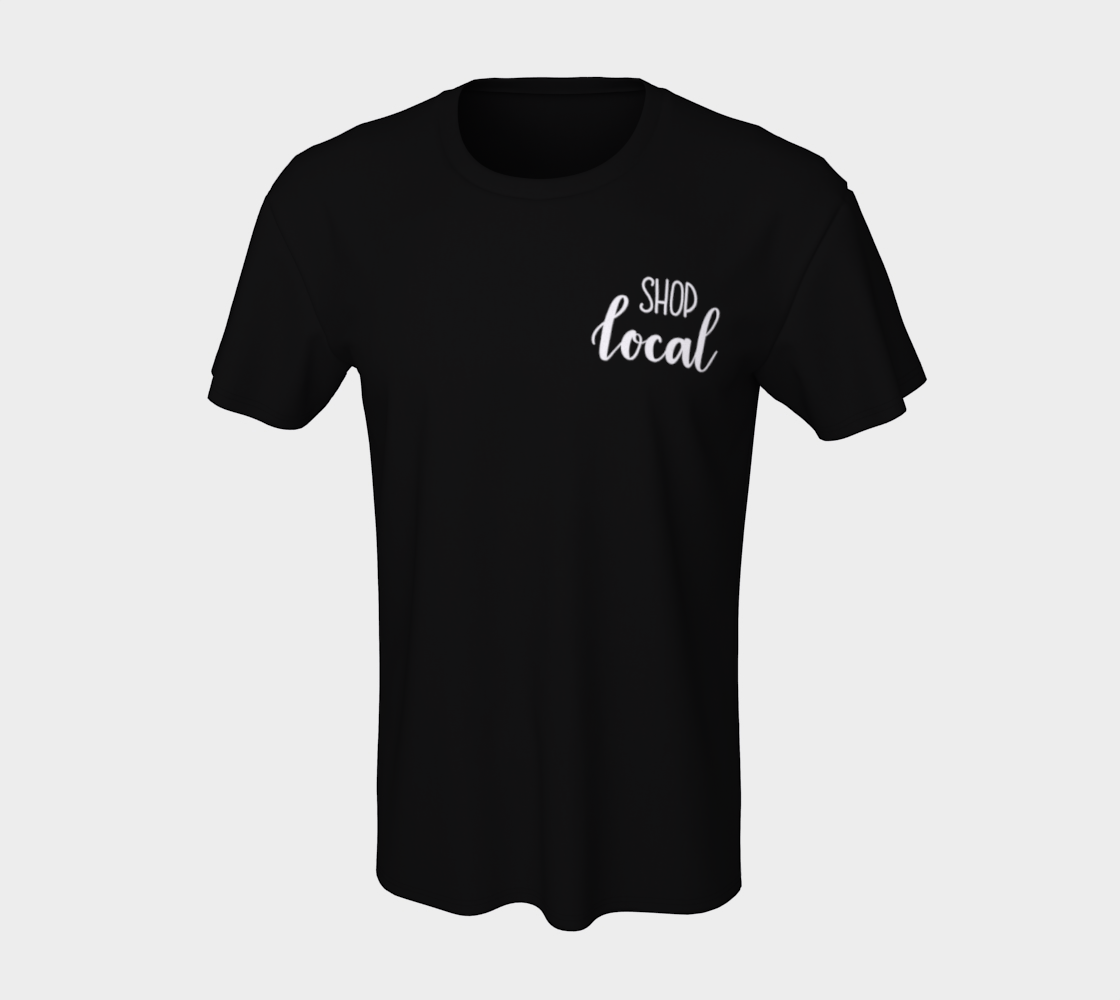 Shop Local - dark unisex tee, white lettering (sample: black) preview #7