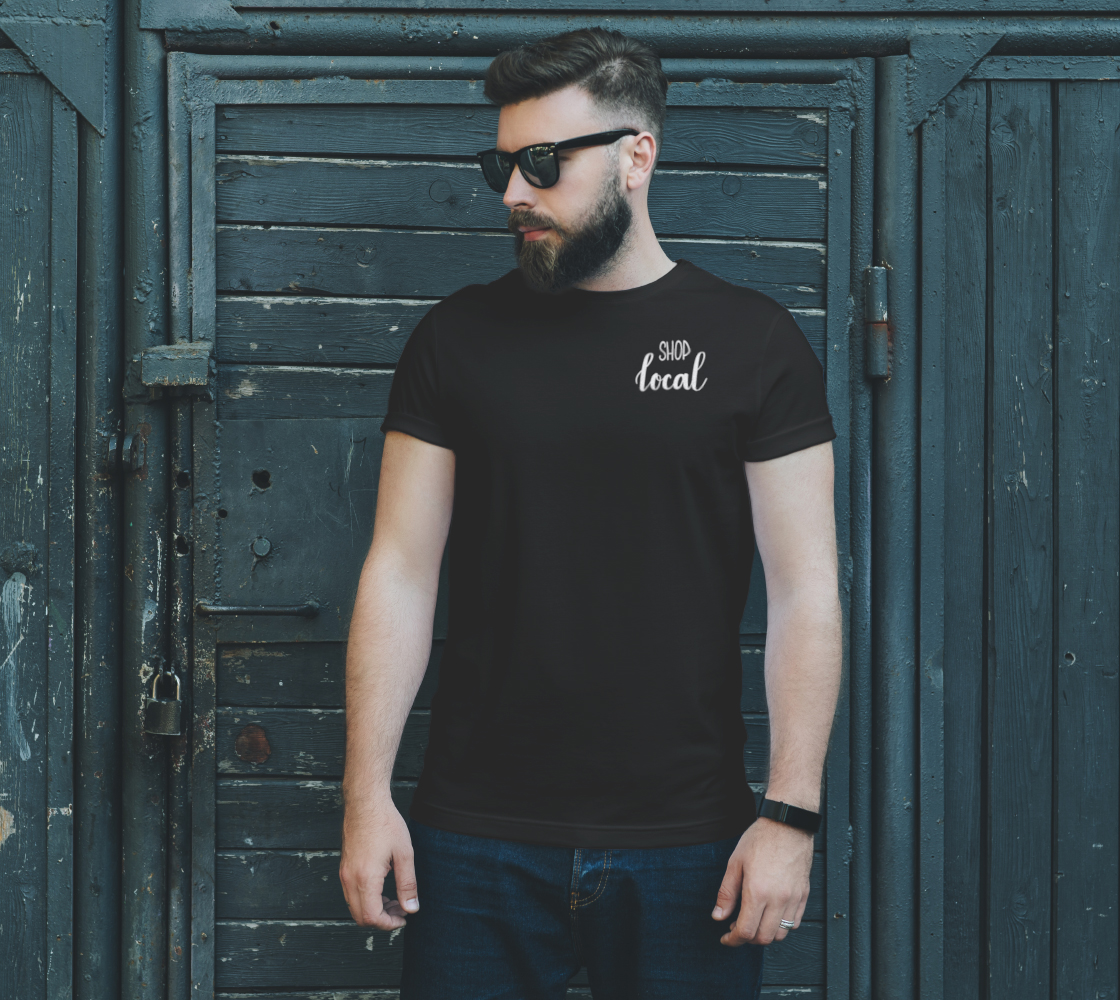 Shop Local - dark unisex tee, white lettering (sample: black) preview #2