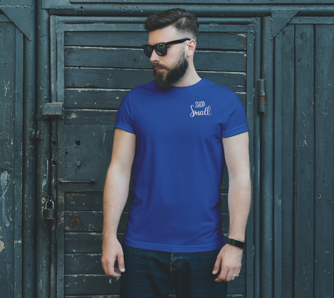 Shop Small - dark unisex tee, white lettering (sample: blue) preview #2
