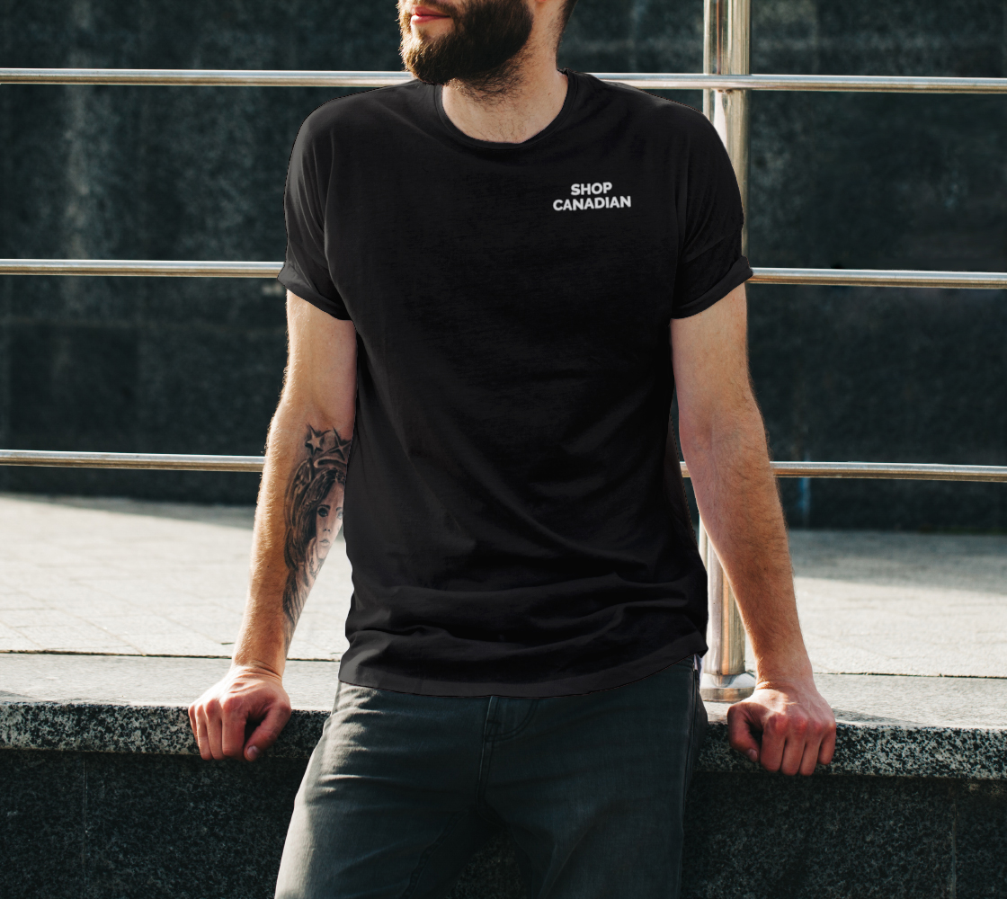 Shop Canadian - dark unisex tee, white text (sample: black) preview #3
