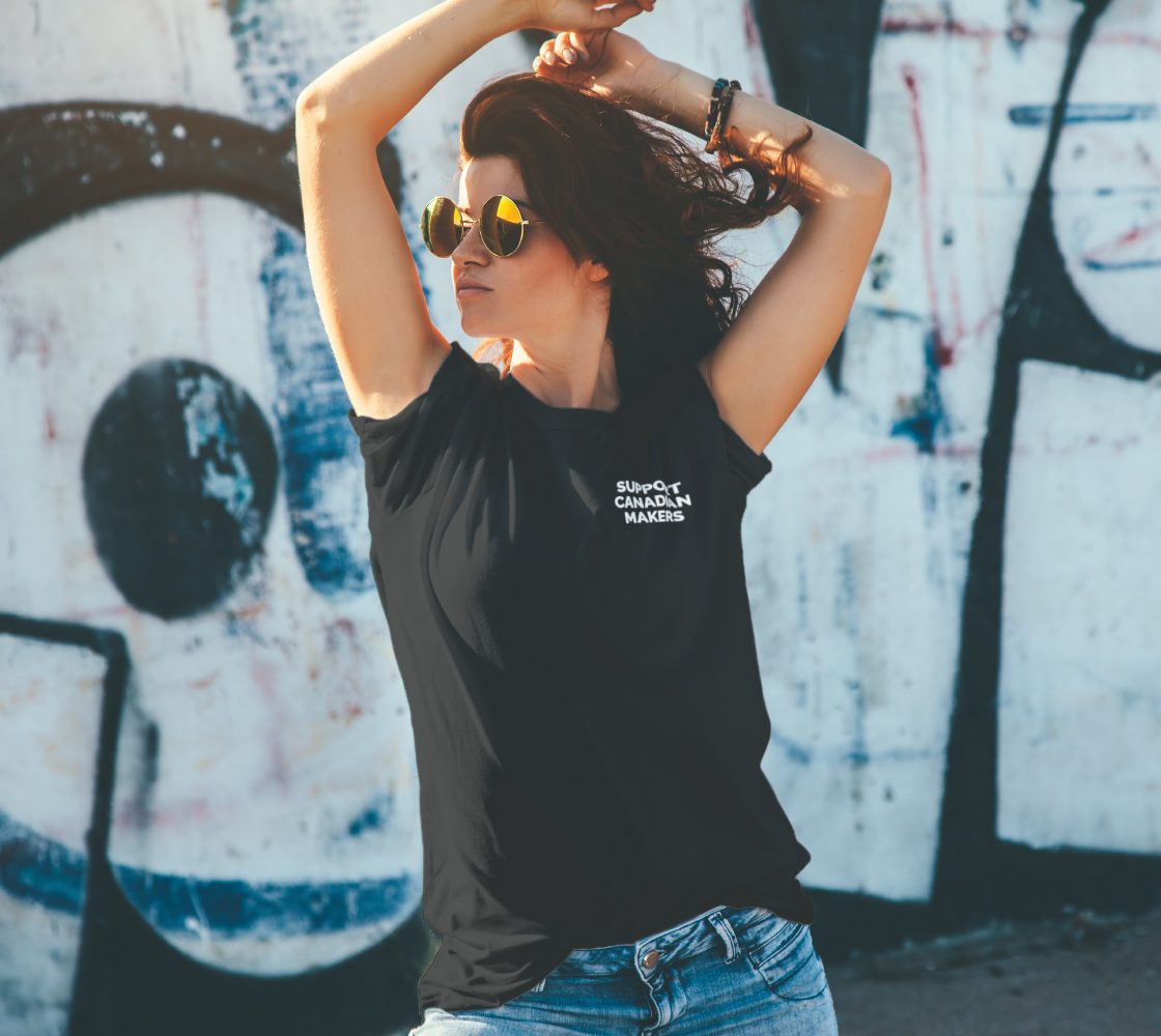 Support Canadian Makers - dark unisex tee, white text (sample: black) preview #4