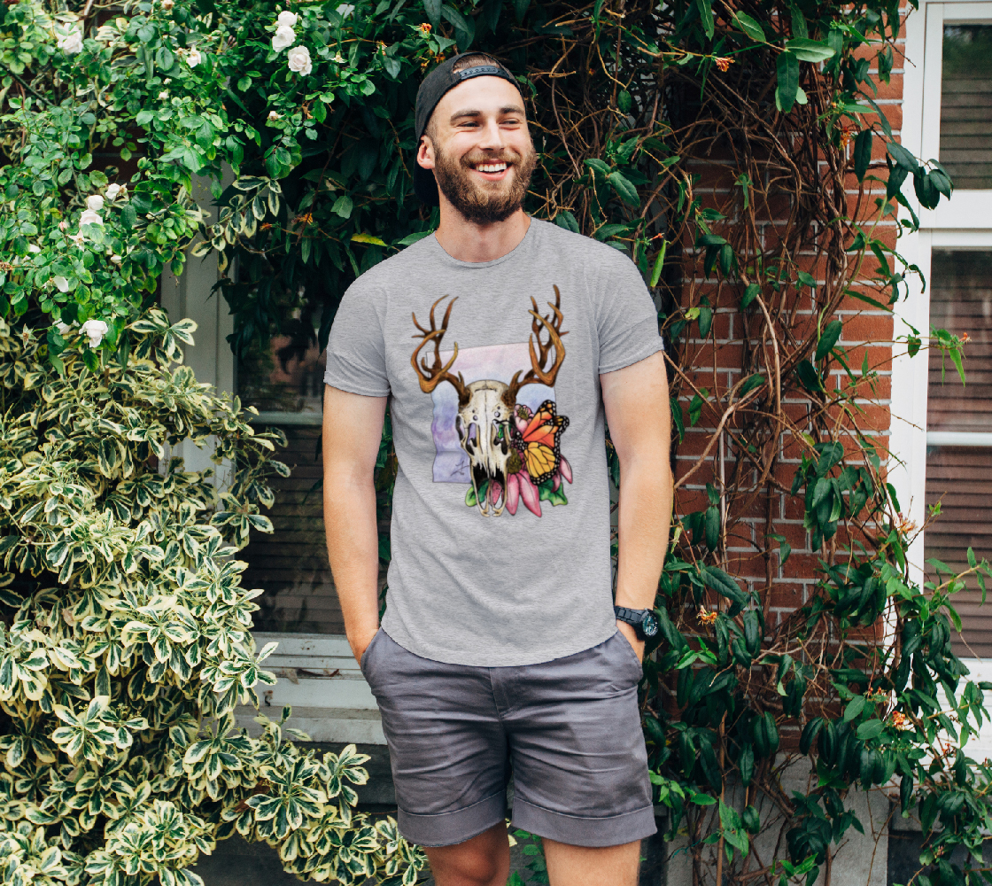 Deer Skull and Butterfly Unisex Tee preview