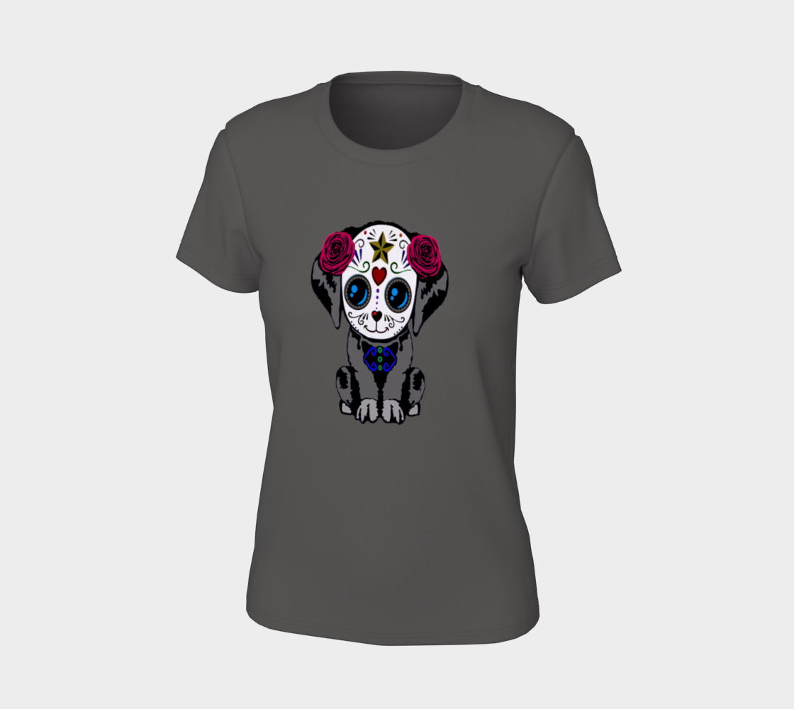 Sugar Skull Puppy Fitted T-Shirts For Women preview #7