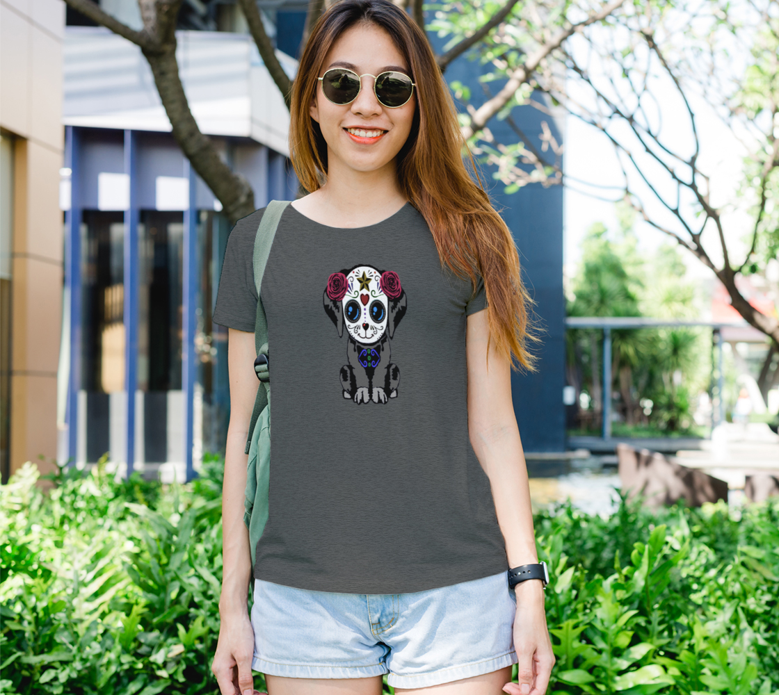 Sugar Skull Puppy Fitted T-Shirts For Women aperçu
