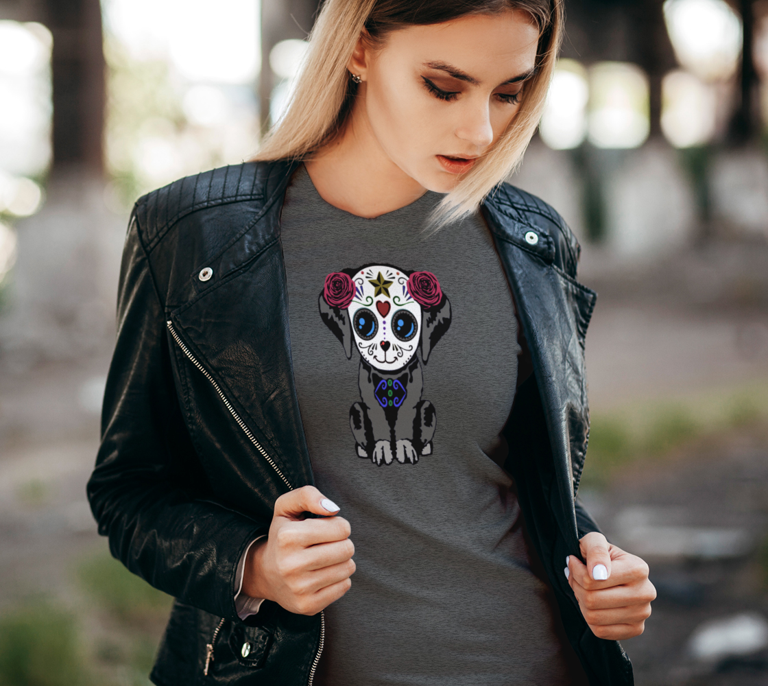 Sugar Skull Puppy Fitted T-Shirts For Women preview #2