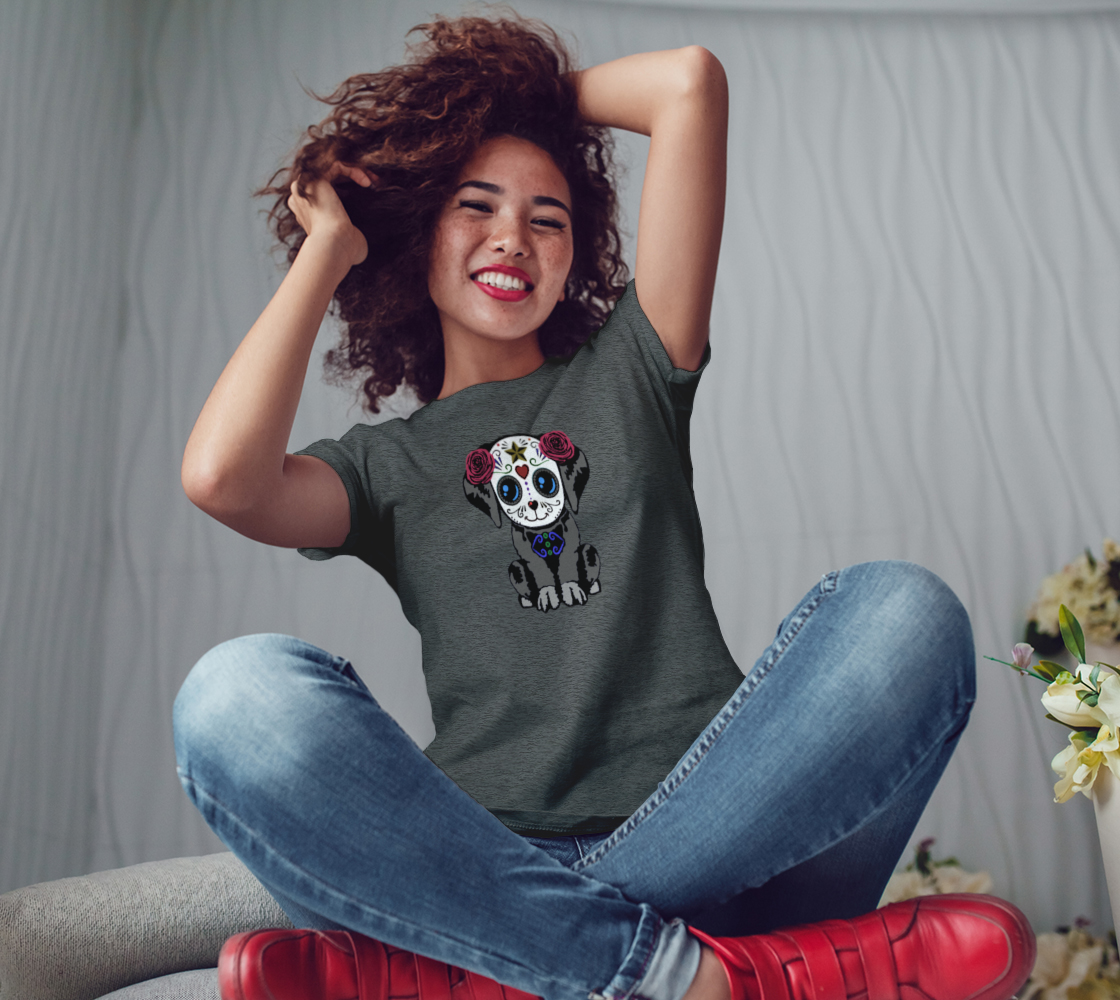 Sugar Skull Puppy Fitted T-Shirts For Women preview #3