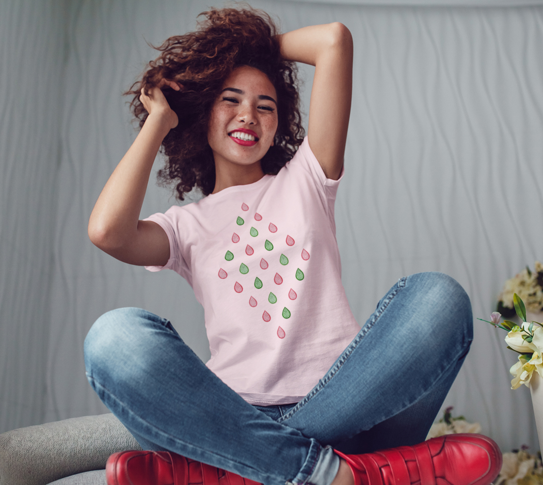 Pink and green raindrops Women's Tee preview #3