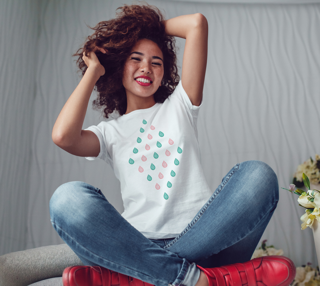 Teal blue and coral pink raindrops Women's Tee preview #3