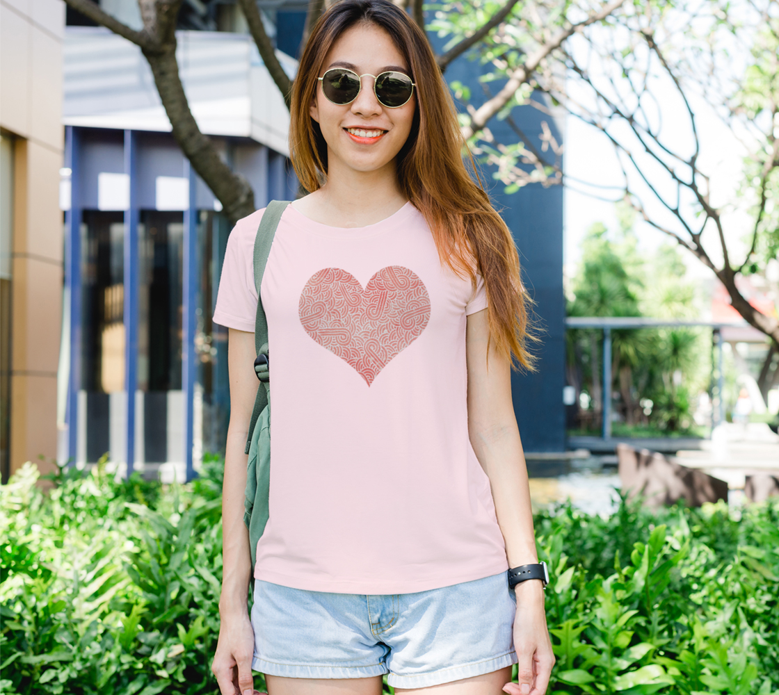 Peach echo and white swirls doodles heart Women's Tee preview