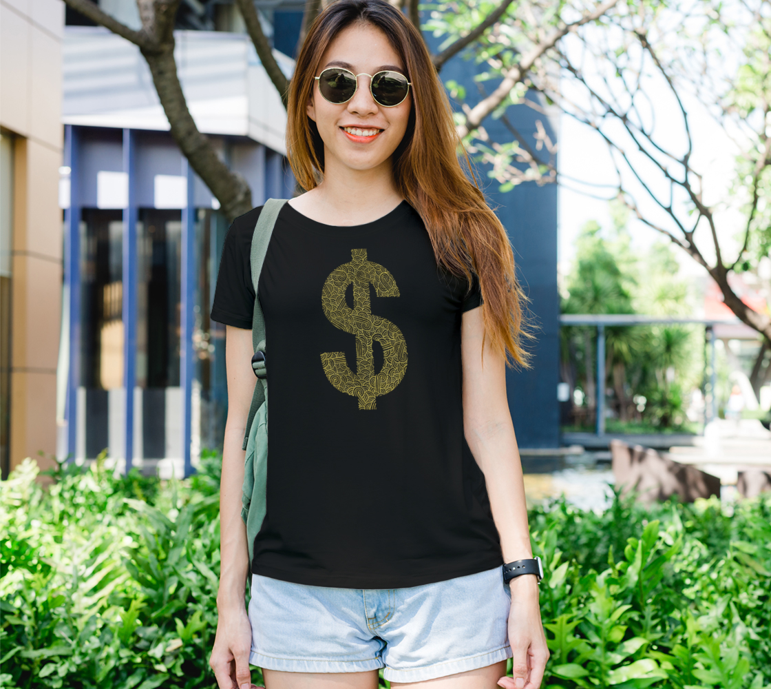 Faux gold and black swirls doodles dollar Women's Tee preview
