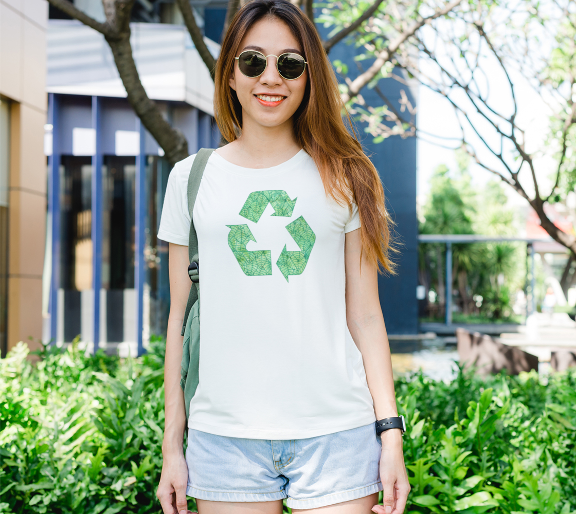 Green foliage watercolor recycling Women's Tee preview