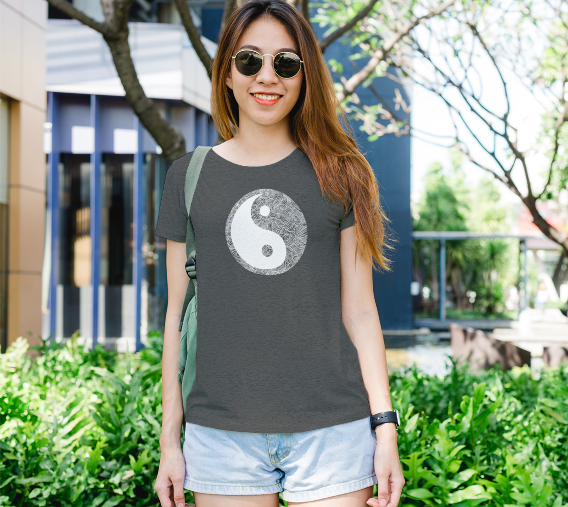 Grey and white swirls doodles Yin Yang Women's Tee preview #1