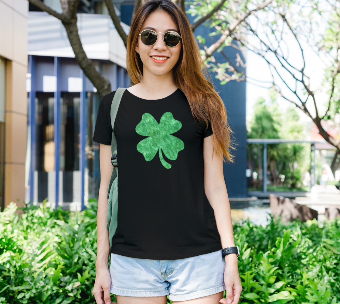 Bright green swirls doodles Clover Women's Tee preview