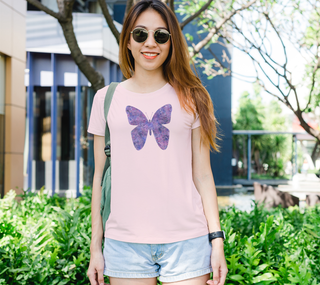 Purple and faux silver swirls doodles butterfly Women's Tee preview