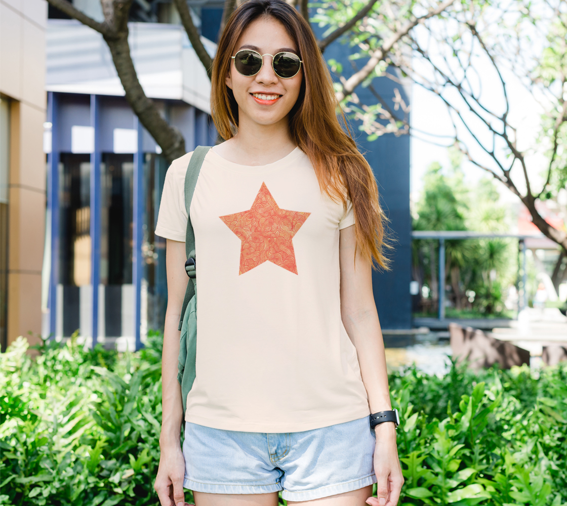 Orange and red swirls doodles star Women's Tee preview