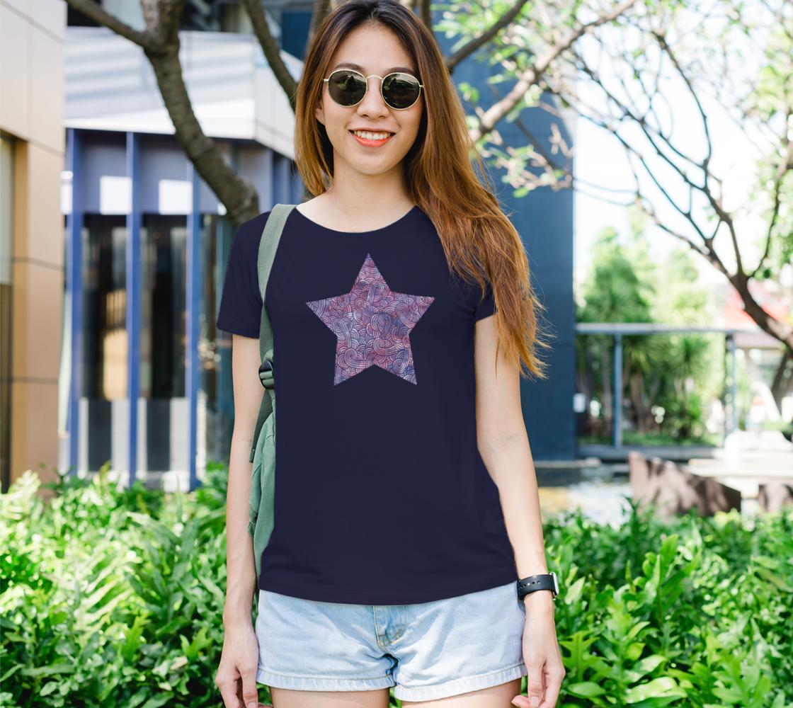 Purple swirls doodles star Women's Tee aperçu