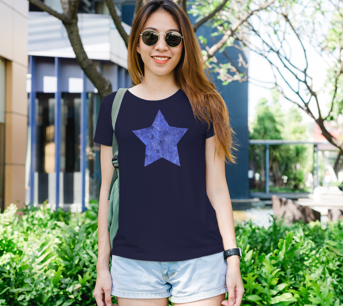 Royal blue swirls doodles star Women's Tee preview