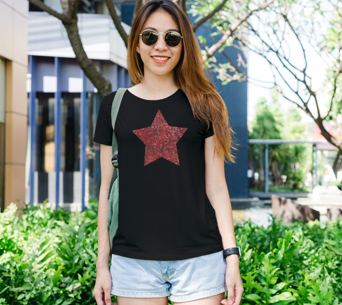 Red and black swirls doodles star Women's Tee preview