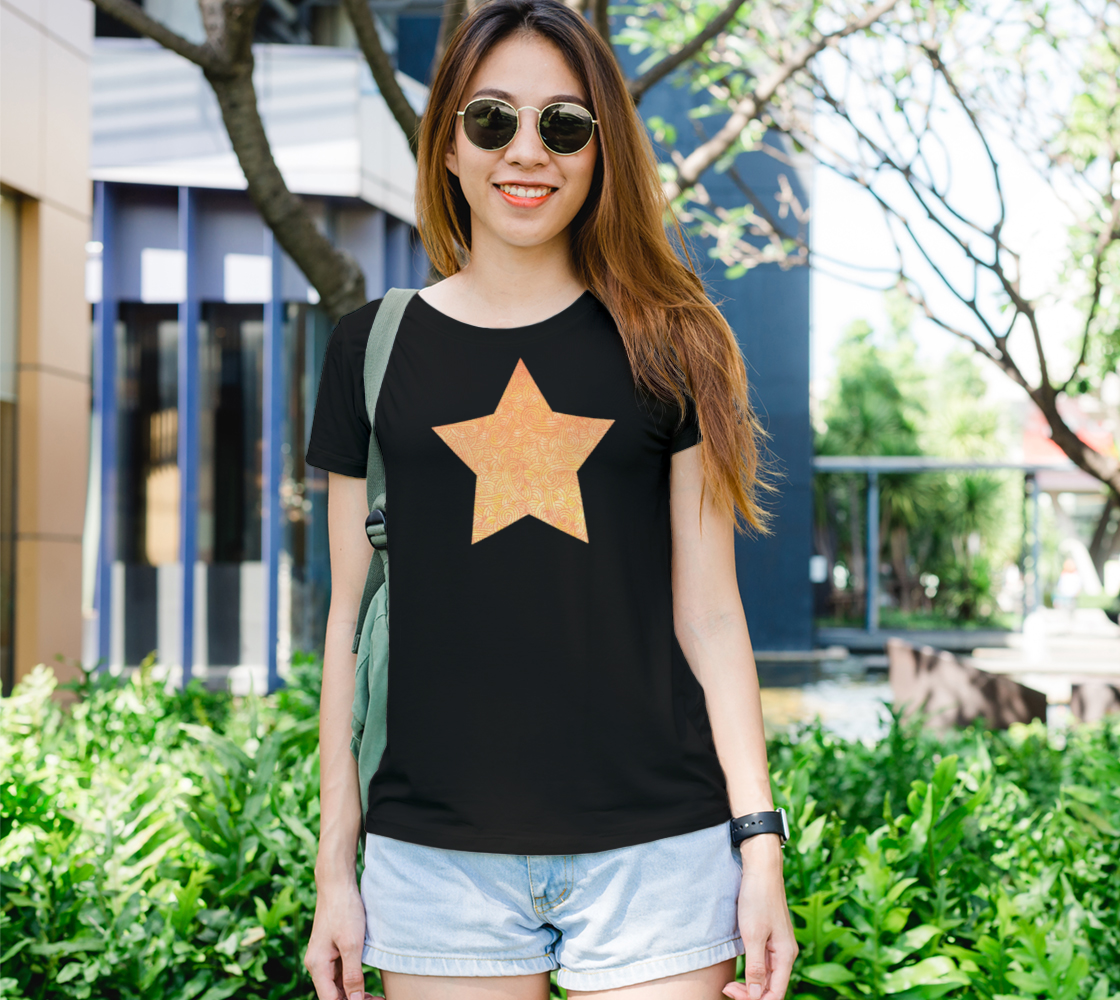 Aperçu de Yellow and orange swirls doodles star Women's Tee