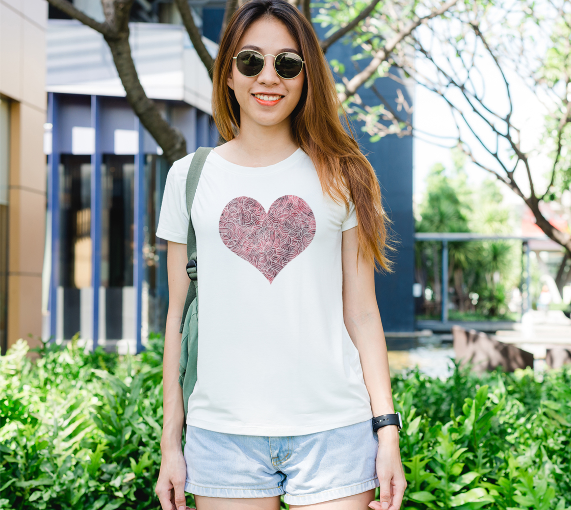 Red and white swirls doodles heart Women's Tee preview