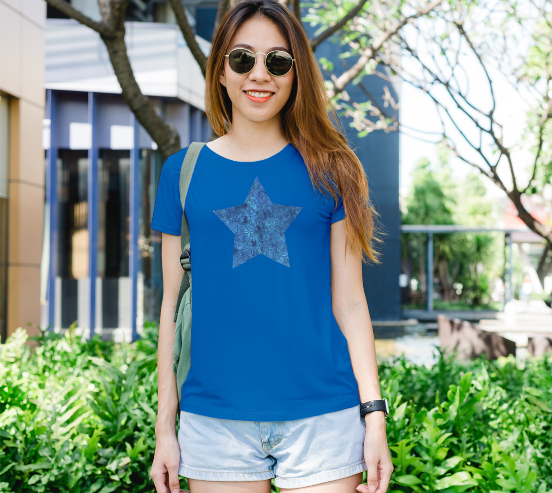 Turquoise blue swirls doodles star Women's Tee preview