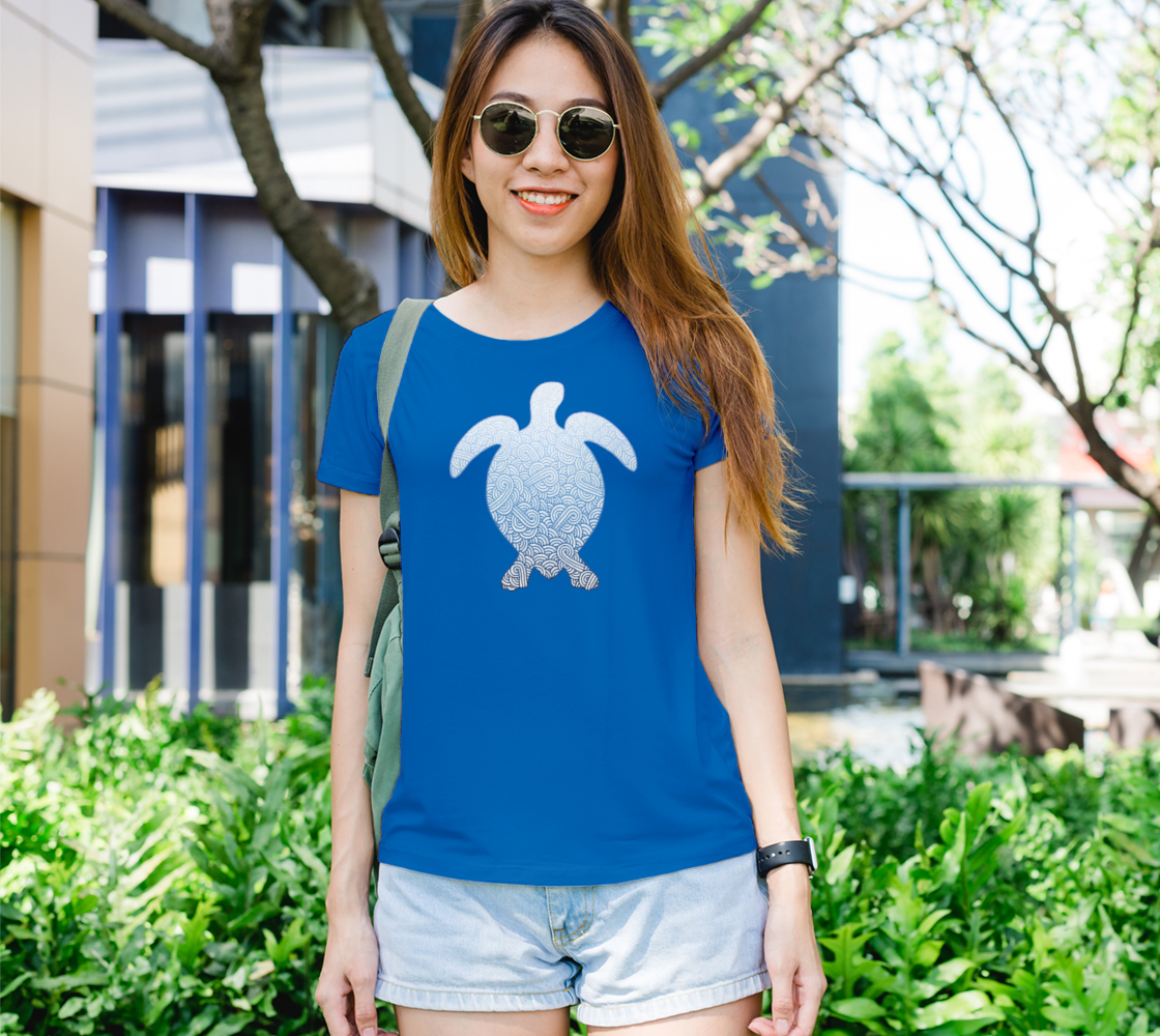 Gradient blue and white swirls doodles sea turtle Women's Tee preview