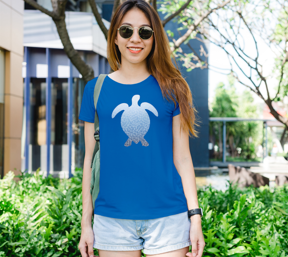 Ombré blue and white swirls doodles sea turtle Women's Tee preview