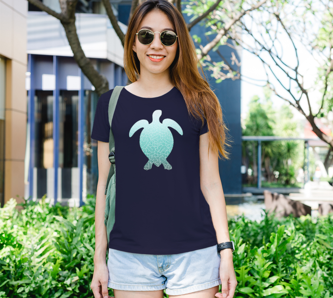 Ombré turquoise blue and white swirls doodles sea turtle Women's Tee preview